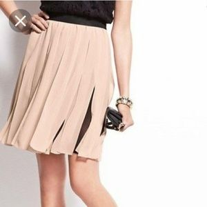 Ann Taylor Pleated Chiffon Pink Black Skirt NWT 16